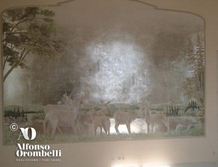 Alta Decorazione murale: foresta su foglie d'argento