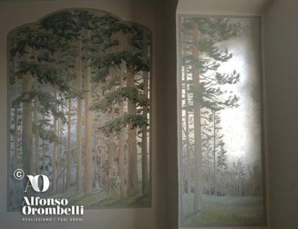 Higt Decoration: painted deer on silver leaf