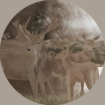 cervo su foglia d'argento
