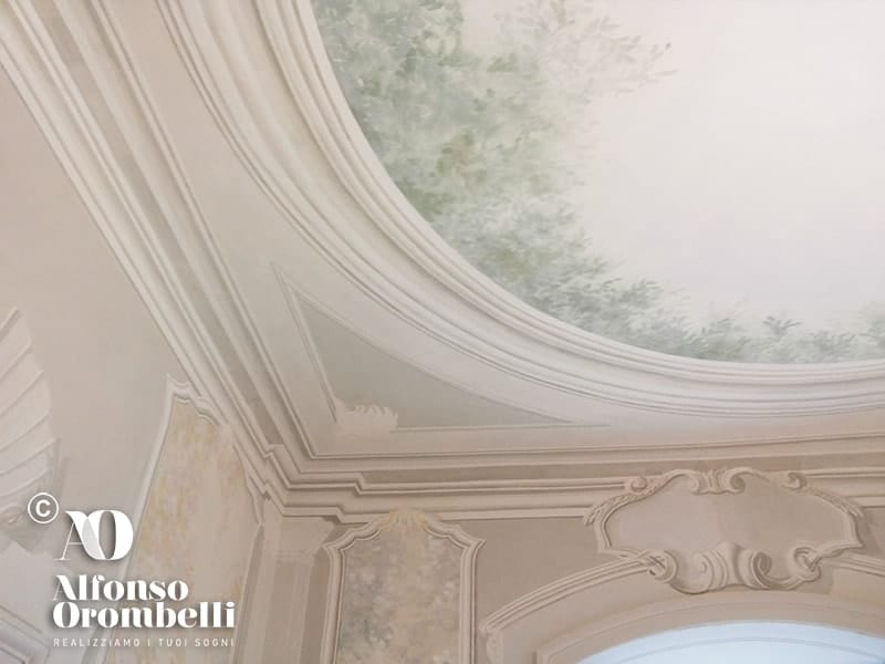 Alta Decorazione murale: conchiglia: ceiling: baroque ornament: baroque corner