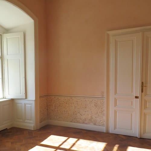 Decorazione murale pareti rosa